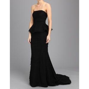 Adrianna Papell Black Shutter Peplum Gown Dress